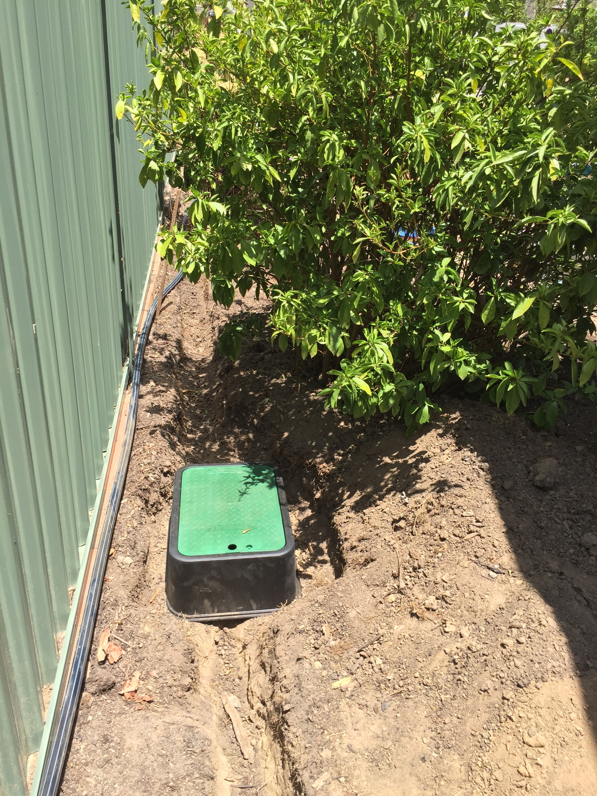 Valve box (2 valves not yet connected) controlling the blueberry bed, herb garden, mango trees and succulent garden
