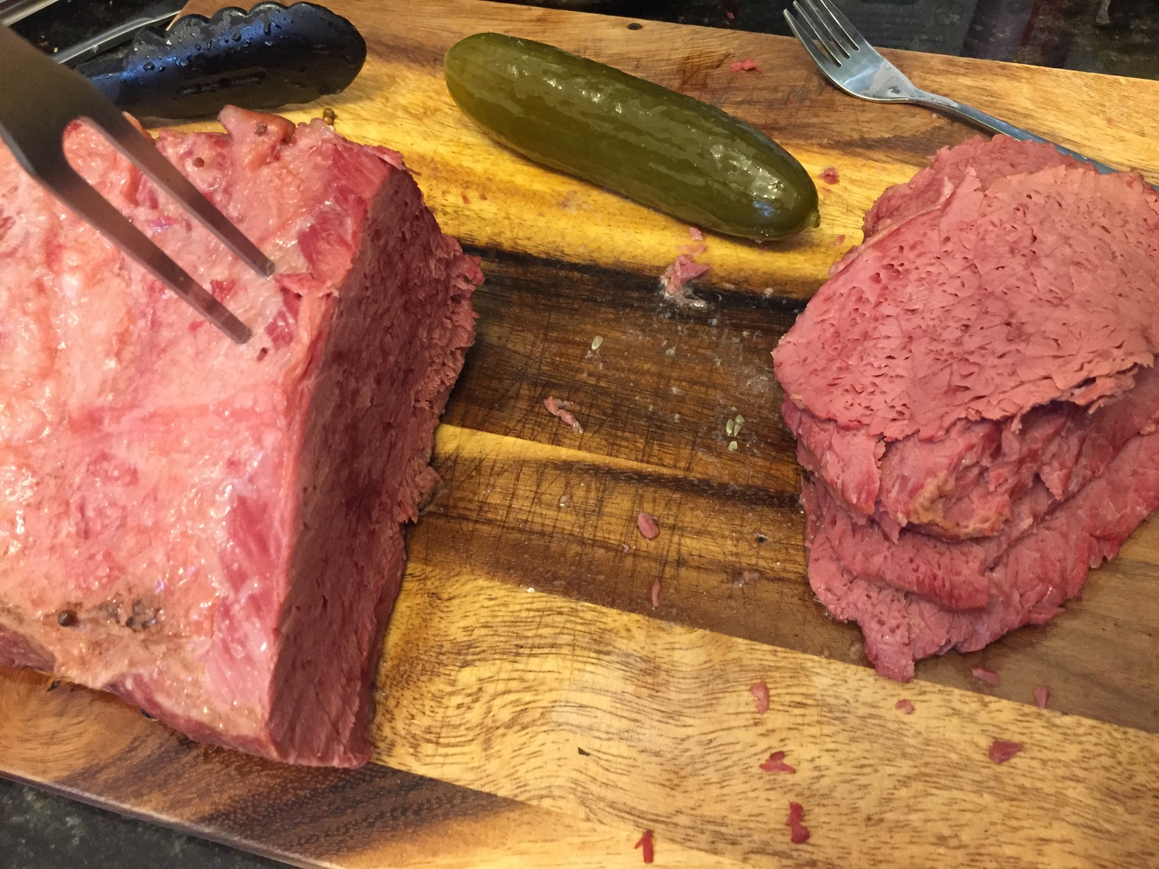 Corned beef sliced up and ready to load onto a sandwich